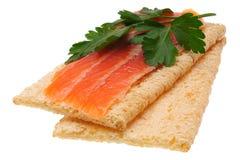 Lage warmte open sandwich Geïsoleerd op wit Stock Afbeelding