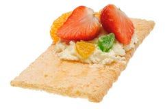 Lage warmte open sandwich Geïsoleerd op wit Stock Foto