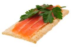 Lage warmte open sandwich Geïsoleerd op wit Royalty-vrije Stock Foto