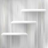 Lagen Leeg wit houten boekenrek. + EPS10 Royalty-vrije Stock Foto's