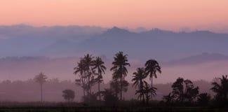 Lagen nevelige heuvels bij zonsopgang Royalty-vrije Stock Foto's