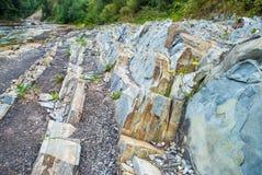 Lagen van sedimentaire zandsteenrots royalty-vrije stock afbeelding