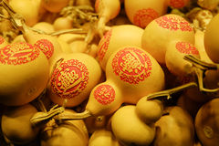 Lagenaria siceraria, calabash, dried gourd. The dried gourd ( Lagenaria siceraria, calabash, bottle gourd, cucurbit ) is considered as happiness and good fortune Royalty Free Stock Photo