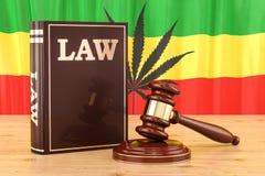 Lagenlighet av cannabisbegreppet med den Rasta flaggan, tolkning 3D stock illustrationer
