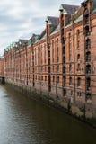 Lager av historiska Speicherstadt i Hamburg, Tyskland Royaltyfria Foton