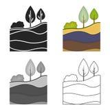 Lager av jordsymbolen i tecknad film utformar isolerat på vit bakgrund Min illustration för symbolmaterielvektor royaltyfri illustrationer