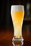 Lager on a bar. Ice cold lager served in a cold glass on a dark bar Stock Photos
