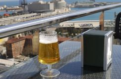 Lager Beer at cafe with view. Barcelona. Spain Stock Photo