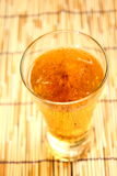 Lager beer closeup in glass dishware Stock Image