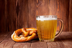 Lager beer glass and pretzel Royalty Free Stock Image