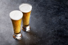 Lager beer glasses Royalty Free Stock Image