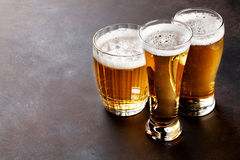 Lager beer mugs Royalty Free Stock Photography