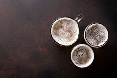 Lager beer mugs Stock Image
