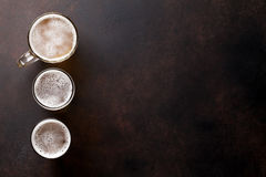 Lager beer mugs Royalty Free Stock Images