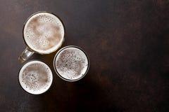 Lager beer mugs Royalty Free Stock Image