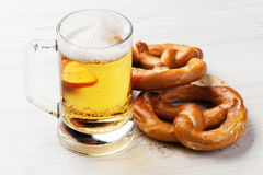 Lager beer and pretzel Royalty Free Stock Images