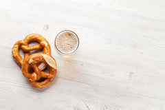 Lager beer and pretzel Stock Image