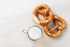 Lager beer and pretzel Stock Images