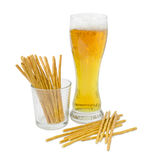Lager beer and salty hard crispy pretzels Royalty Free Stock Photo