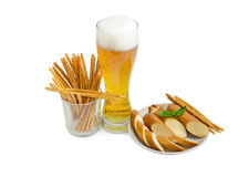 Lager beer, salty hard crispy pretzels, sliced smoked processed Stock Photos