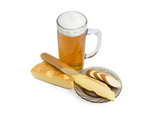 Lager beer, smoked processed cheese and smoked hard cheese Royalty Free Stock Photo
