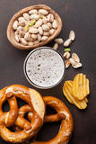 Lager beer and snacks Stock Photos