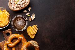 Lager beer and snacks Royalty Free Stock Photography