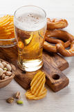Lager beer and snacks Stock Photo