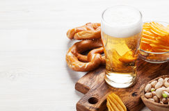 Lager beer and snacks Royalty Free Stock Image