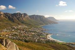 Lager-Bucht und zwölf Apostel. Ansicht von Lyons Kopf. Cape Town, Westkap, Südafrika Stockbilder
