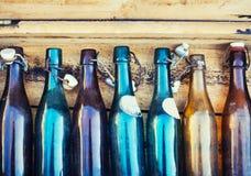 Lager del sidro della birra delle bottiglie su fondo di legno Fotografia Stock Libera da Diritti