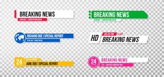 Lager derde malplaatje Reeks de banners en bars van TV voor nieuws en sportkanalen, het stromen en het uitzenden royalty-vrije illustratie