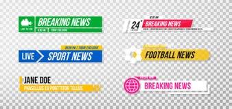 Lager derde malplaatje Reeks de banners en bars van TV voor nieuws en sportkanalen, het stromen en het uitzenden vector illustratie