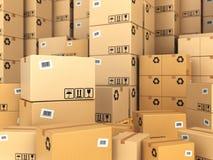 Lager eller leveransbegrepp all bakgrund boxes brun pappfärg Royaltyfria Bilder