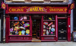 Lager för arkitekturLondon godis Hardys Sweetshop Royaltyfri Foto