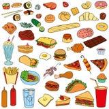 lager för redigerbar för snabbmat för illustrationsbubblahund varma hamburgare för lutningar ingen använd set text för smörgås royaltyfri illustrationer