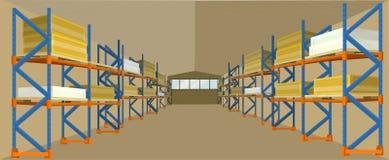 Lager-Hangar-Gebäude-Vektor im flachen Design stock abbildung