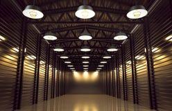 Lager mit Retro- Lampen der Weinlese Stockbild