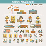Lager och infographic beståndsdelar för logistik Arkivfoto