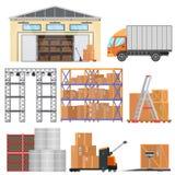 Lager och logistiska plana vektorutrustningsymboler Askar för leveranslastbil, lagrings-, lager- och last stock illustrationer