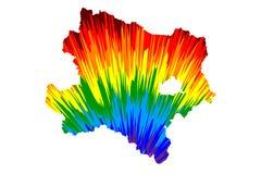 Lager Oostenrijk Republiek Oostenrijk, Staten van de kaart van Oostenrijk is ontworpen regenboog abstract kleurrijk patroon, Lage stock illustratie