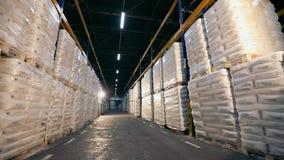 Lager stort modernt lager i en fabrik lager videofilmer