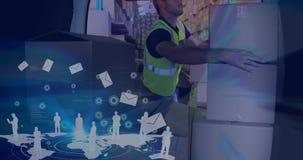 Lager-Zusammensetzungs-Mannverpackungskästen in einen Packwagen kombiniert mit Illustration von Fliegen L stock footage