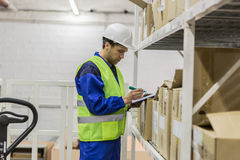 Lagerarbeitskraft, die Dokumente betrachtet Lizenzfreies Stockfoto