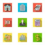 Lagerför fastställda samlingssymboler för fastighetsmäklare i plant stilvektorsymbol illustrationrengöringsduk Arkivfoto