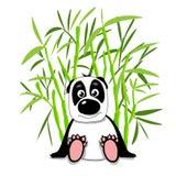 Lagerföra den gulliga pandan för illustrationen i bambuskog stock illustrationer
