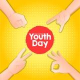 Lagerföra den internationella ungdomdagen för vektorn, 12 Augusti händer upp på gul bakgrund royaltyfri illustrationer