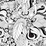 Lagerföra den sömlösa abstrakta monokromma klotterblomman och vinka Royaltyfri Foto