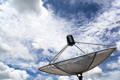 Lagerföra den satellit- maträtten för fotoet på taket med blå himmel Arkivbild