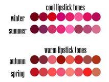 Lagerföra för färganalys för vektorn den säsongsbetonade paletten för färger för läppstift royaltyfri illustrationer
